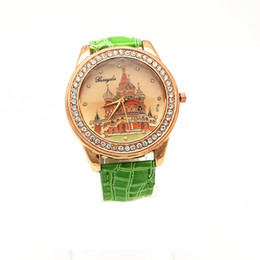 Free Shipping!Gold plating alloy round case,PVC leather band,Russian house imprint dial,quartz movement,Gerryda fashion woman lady watch,716