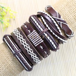 Free shipping wholesale (6pcs lot) cool bangles ethnic tribal genuine adjustable leather bracelet for men-TE54
