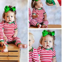 Скидка красный восхождение Новый рождество младенца Красные и белые полосы Цельная Комбинезоны Весна хлопок Romper дети мальчики девочки восхождение одежда C1544