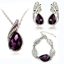 Wholesale 2016 New Design Fashion Jewelry Purple Crystal Wedding Jewelry Sets Necklace Earrings and Bracelet Kits
