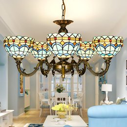 Tiffany chandelier Stained glass pendant lamps art dining room lights hand made blue living room lighting indoor light fixture hot sale