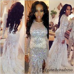 Wholesale Luxury Tulle Beaded Arabic Evening Dresses Jewel Long Sleeves Zipper Back Prom Dresses Sequins Ostrich Hair Side Split Sweep Train