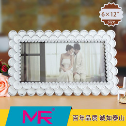 Wholesale 12 inch photo frame Rectangle shaped EU Vintage style ABS eco friendly material with D diamante embroidered picture frame can be standing