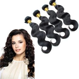 Promotion peut teindre remy extensions de cheveux cheveux malaysian faisceaux ondes de 4 pièces / lot remy extensions de cheveux cheveux vierges 8a 8-30Inch Natural Color peuvent être teints et blanchies