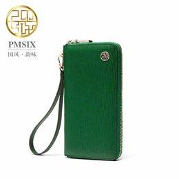 Promotion téléphones cellulaires concepteur Pmsix cuir plissé de Split Clutch Wallet Téléphone Zipper longue Marque cellulaire Femmes Wallet Designer Vert Wristlet Wallet 420002