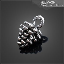 Wholesale Cedar nuts antique silver alloy pendant charm for necklace or bracelet jewelry Findings Components