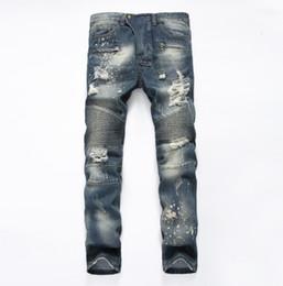 Wholesale New Balmain Jeans For Men Biker Jeans For Men Casual Washed Denim Splice Frayed Jeans Motorcycle Pants Skinny Jeans Robin Jeans