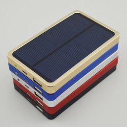 Wholesale Metal Material W Solar Panel Charger mAh External Power Bank colors for Mobile Phone Camera MP3 MP4 PSP GPS with retail package