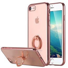 Wholesale iPhone Case Ultra Thin Clear Luxury TPU Rose Gold Bumper Case Cover with Built in Ring Grip Holder for Apple iPhone Plus