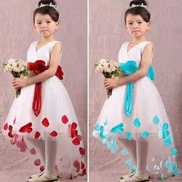 2017 Lovely High Low Flower Girls Dresses For Weddings V Neck Sleeveless Little Girls Birthday Party Dresses Girls Pageant Dresses With Sash