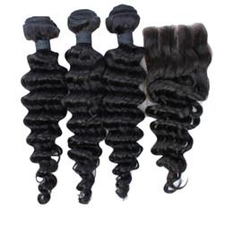 2016 7a encierro del pelo de la onda profunda 4PCS / LOT 7A grado no procesados profunda de la onda brasileña virginal del pelo Paquetes con cierre de cordones profundamente rizado 4x4 nudos blanqueados Natrual Negro 7a encierro del pelo de la onda profunda limpiar