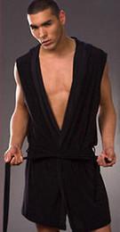 Wholesale Sexy Mens Silk Satin Bath Shower Robe Kimono Wraps Hooded Night White Gray Black