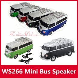 Wholesale Bus Car Shape Speaker WS Mini Portable Car Speakers Subwoofers Deep Bass Support TF Card USB MP3 Player ws266 Christmas Toy Speakers