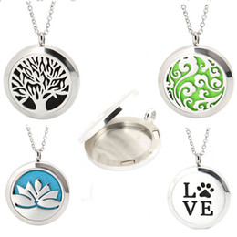 Wholesale 1pcs Aromatherapy Essential Oils Stainless Steel Perfume Diffuser Locket necklace