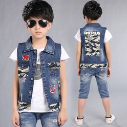 Wholesale Sleeveless Jacket For Boys - Kids Denim Vest For Boys Cowboy Children's Vest For A Boy Child Camouflage Vests For Children Boy Jackets Sleeveless