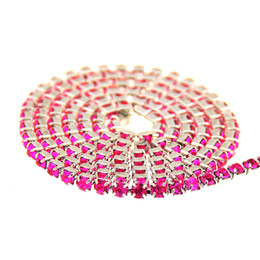 Fushia Glass Rhinestones Silver Base Chains Copper Cup Claw Chain Non Hotfix Sew On Crystal Stones DIY Craft Jewelry Accessories