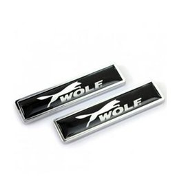 Wholesale 58x14mm automobile accessories car styling side doors stickers with WOLF logo badge emblem