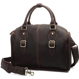 Men Genuine Leather Bag Vintage Cross Body Briefcase Hot Fashion Dark Coffee Single Shoulder Bag for Men