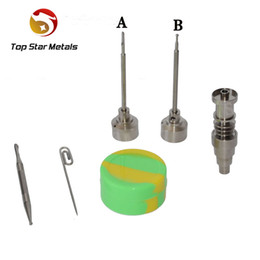 Fit 20mm heating coil 6IN1 Universal Titanium nail with Titanium carb cap with 1 random Silicone Jar Container with 2 Real Ti dabbers