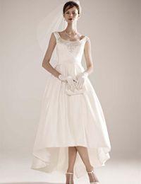 New Fashion Design High Low Wedding Dresses Beading Square Neck Satin Short Front Long Back Bridal Gown vestido de noiva W079