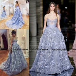 Wholesale 2016 Zuhair Murad Powder Blue Corset Bodice Princess Prom Party Pageant Dresses Sweetheart Ball Gown Puffy Arabic Occasion Evening Gown