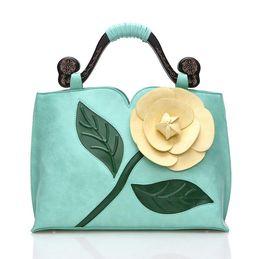 Fashion Women 3D Stereoscopic Rose Flower Handbag High-end PU Leather Shoulder Handbag Bag Tote Women Messenger Bag 7 Colors