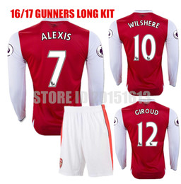 Wholesale 16 Long Sleeve Kits Arsenal Soccer Jerseys Gunners Jersey Red OZIL WILSHERE RAMSEY ALEXIS GIROUD Welbeck Full Football Sets Suit