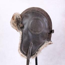 Unisexe en cuir PU aviateur trappeur chapeau casquette fourrure voler hiver chaleureux vintage beanie protection de l'oreille trappeur de vol chapeau homme à partir de bonnet cru fournisseurs