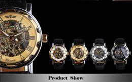 Wholesale Golden Men Skeleton Mechanical Watch Stainless Steel Steel Hand Wind Watches Transparent Steampunk Montre Homme Wristwatch