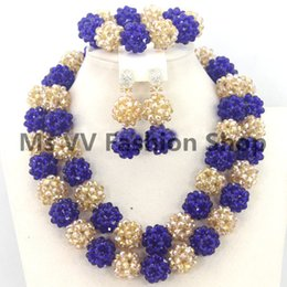 fashion design royal blue gold African Beaded Jewelry Set Nigerian Wedding Crystal Beads Necklace Set Free Shpping