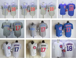 Men's Chicago Cubs #17 Kris Bryant #18 Ben Zobrist White Grey Blue jerseys Stitched Authentic Cool Baseball Jersey Top Quality Cheap jerseys