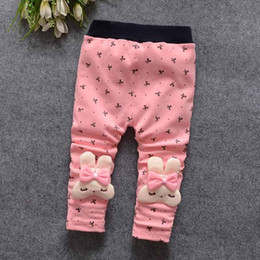 Wholesale Autumn Spring Cute Kids Rabbit Leggings Cotton Girls Tight Leggings Print Skinny Toddler Baby Girl Leggings Long Pants Trousers Pink Rose