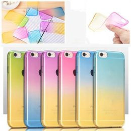 Rainbow Gradient TPU Ultra Soft Thin Clear Gel Case Skin Cover For iPhone 4 5 6 6s 6 Plus