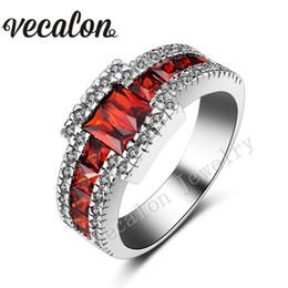 Wholesale Vecalon anillo de moda masculina de compromiso de oro blanco Banda Granate diamante simulado KT Lleno anillo de boda del partido de Hombres SZ