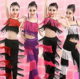 2018 Latin Dance Dress For Girls Stage Costumes Tassel Cha Cha Samba Rumba Ballroom Dancing Children Dress Salsa Dance Costumes
