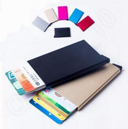 Promotion couleur de titulaire de la carte Protecteur de carte métallique Rfid Porte-cartes de crédit Porte-monnaie 5 cartes Diapositive progressivement 7 couleurs QQA400
