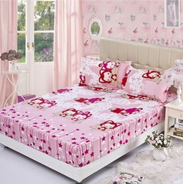 cartoon pink fitted sheet bedspread bed sheets hotel bed covers elastic mattress cover protector queen full twin size bedding supplies in bulk