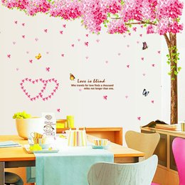 Wholesale Cherry Trees Wall Sticker Butterfly Romantic Wedding Newlyweds Bedroom Marriage Living Room Decoration TV Wall Love Restaurant