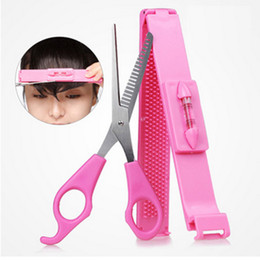 Wholesale 2Pcs Women Professional Bangs Scissors DIY Hair Styling Tools Hairdressing Hair Cutting Scissors With Ruler Household