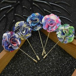 Wholesale Silk Suits China - price cheap fabric flower brooch pins handmade boutonniere sick with silk flowers for men suit wear men accessories in 6 colors luxury plaid