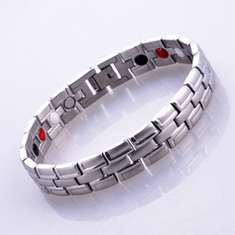2016 free shipping Fashion Silver Stainless Steel Quantum Bio Energy Magnetic Health Bracelet With Germanium Infrared Anion Benefits inlay