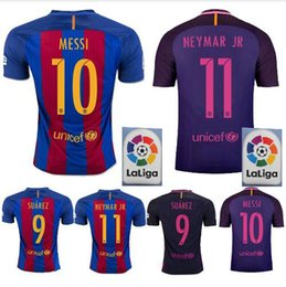Wholesale Top thai Quality Jerseys MESSI Neymar A INIESTA SUAREZ SERGIO PIQUE I RAKITIC barcelona soccer jersey home and away shirt