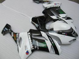 Wholesale Customized Fairing kit for KAWASAKI Ninja ZX6R white gloss black bodykit ZX6R ABS Fairings set