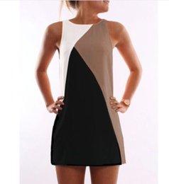 Wholesale Cheap Women Flare Dress - Cheap new casual stitching collision geometry dress LYQ172
