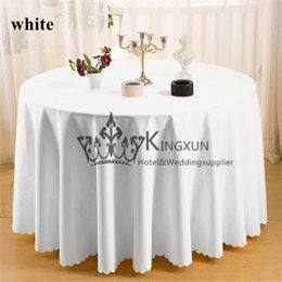 Wholesale Round Shape White Color Polyester Table Cloth For Wedding Size Can Choose