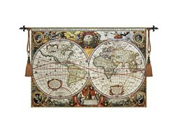 Wholesale Antique World Map Fine Art Tapestry Wall Hanging Home Decor Gift Cotton Jacquard Woven x cm