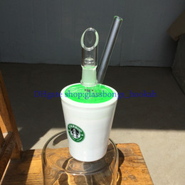 Wholesale Glass bong New Arrive Starbucks Glass Bongs Water Pipes Freezable sustem can in the refrigerator frozen green coolant
