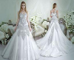 Wholesale dubai crystal mermaid wedding dresses dar sara bridal wedding gown scoop neckline off the shoulders plus size wedding gowns
