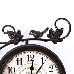 Wholesale Hand made metal home decoration on the wall double faced animated wrought iron double sided wall clock vintage designed