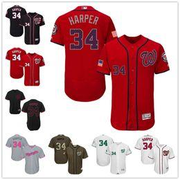 Wholesale 2016 Washington Nationals Bryce Harper White Navy Blue Gray Red Fashion Stars Stripes Majestic MLB Baseball Jerseys Cheap
